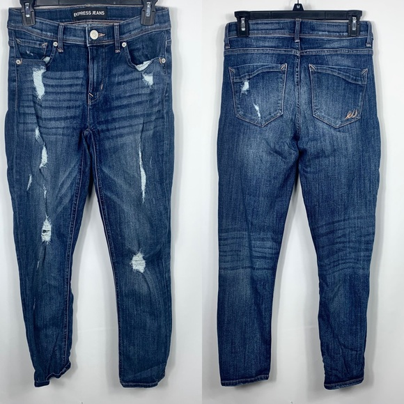 Express Denim - Express Distressed Ripped Skinny Jeans